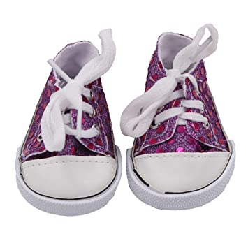 74eea737f201 Amazon.com : Sunshinehomely Glitter Doll Shoes Canvas Shoes for 18 ...
