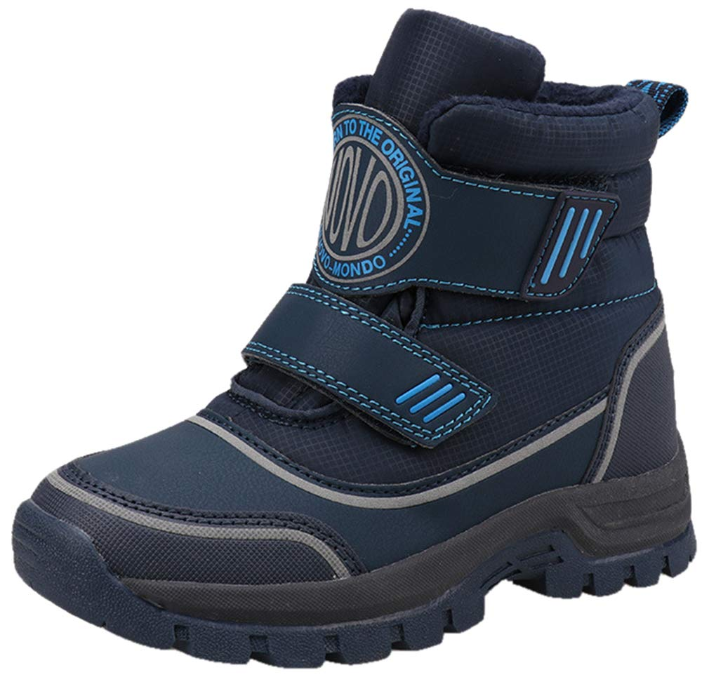 VECJUNIA Boy's High Top Snow Boots Thicken Waterproof Nonslip Shoes (Toddler/Little Kid/Big Kid) (Dark Blue, 4.5 M US Big Kid)