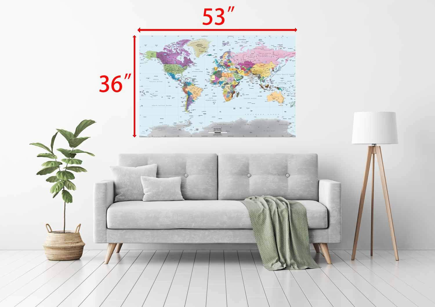 Academia Maps World Map Wall Mural - Modern Colorful Map - 53 x 36 - Premium Self-Adhesive Fabric - Professional-Grade DIY by Academia Maps (Image #3)