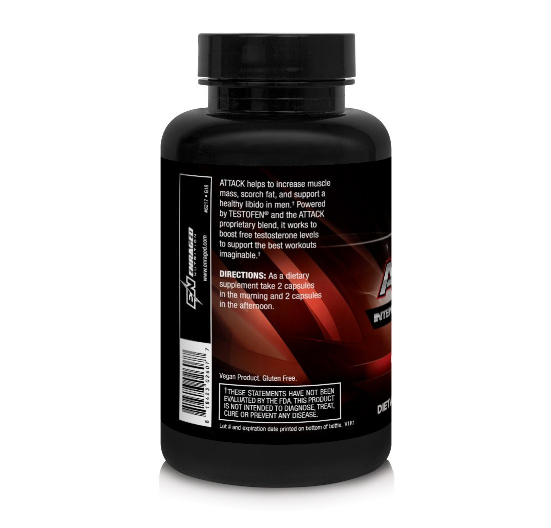 ENRAGED NUTRITION ATTACK Intense Testosterone Booster Powered by Testofen® | Men's Testosterone Supplement | Muscle Support and Fat Burn, 120 Capsules