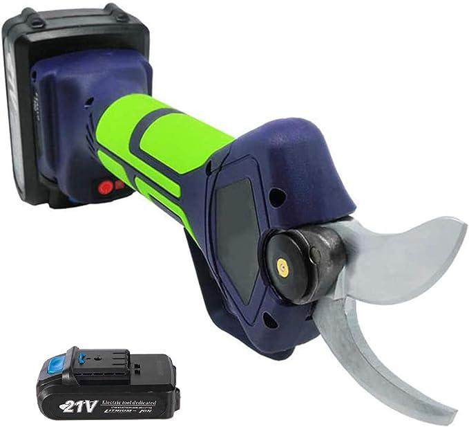 SIRUL 21V Tijeras de podar eléctricas inalámbricas Profesionales, con 2 Tijeras de podar de Rama de árbol con batería de Litio de Respaldo de 21 V 2 Ah, diámetro de Corte de 35 mm