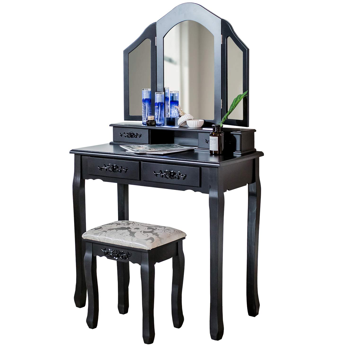 DELMANGO Vanity Set with Cushioned Stools 3 Mirror and 4 Drawers Bedroom Table Chair Set for Girls Simple and Modern, Black by Delmango