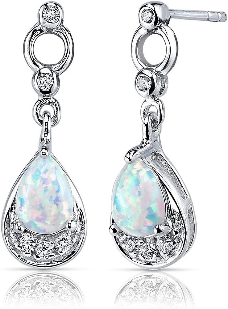 Created Black Opal Vintage Dangle Earrings Sterling Silver 4 Carats