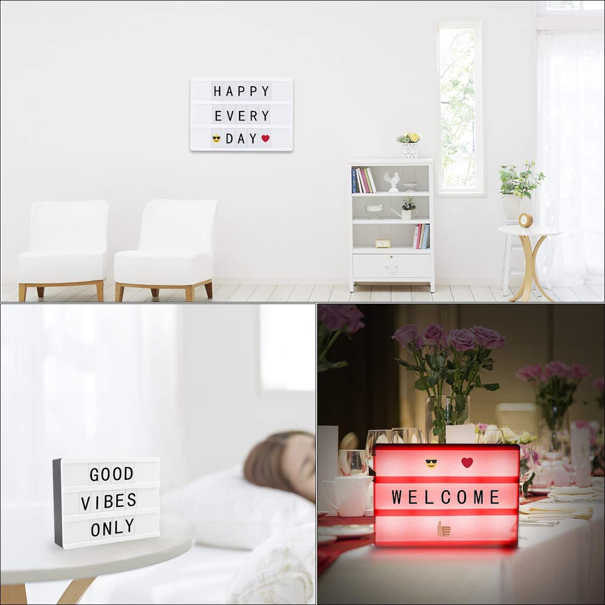 DEALPEAK Cinema Light Box Letters,USB Cable Powered Cinematic LED Light Box 90 Letters