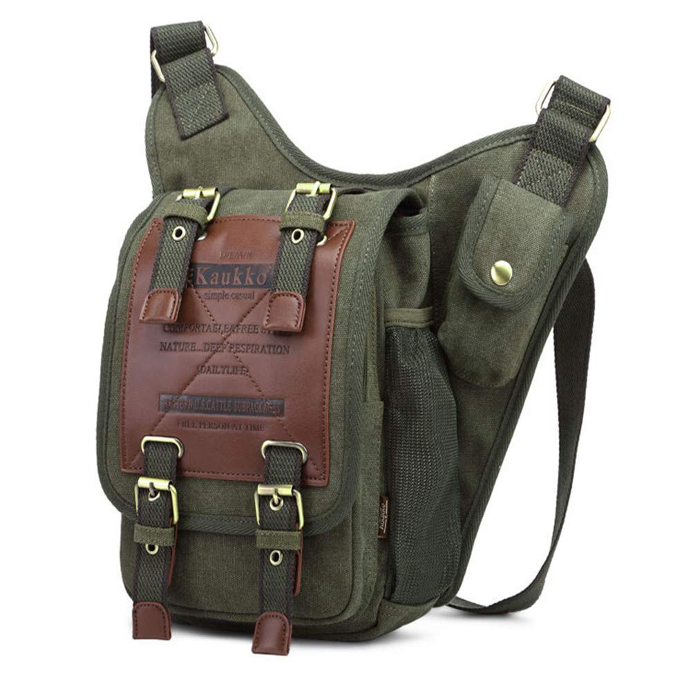 Dayfine Canvas Messenger Bag for Men Laptop Sling Backpack Cross Body Shoulder Travel Rucksack Military Shoulder Bag Backpack