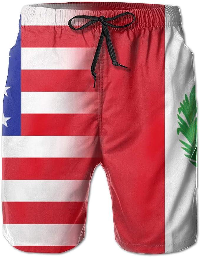 STDKNSK9 Mens Peru American Flag Boardshorts Swim Trunks