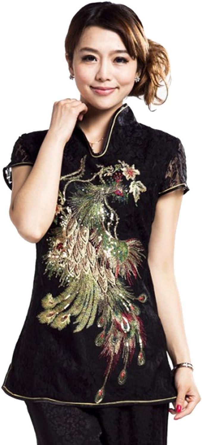 ACVIP - Camisas - Animal Print - para Mujer Negro Negro 38/Etiqueta L: Amazon.es: Ropa y accesorios