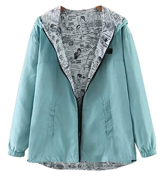 Amazon.com: De la Mujer Azul Pastel Bomber Double-Side Wear ...