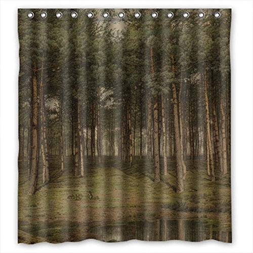 (AIDOU Polyester Christmas Shower Drape Of Art Painting Jean Pierre Francois Lamoriniere - Fir Wood At Putte For Valentine Kids Girl Wife Custom Lover. Dries Quickly Width X Height / 72 X 72 Inches /)