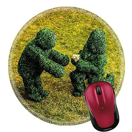 Liili Round Mouse Pad Natural Rubber Mousepad IMAGE ID 33046963 Family of live bushes Outdoor fairy tale style photo -