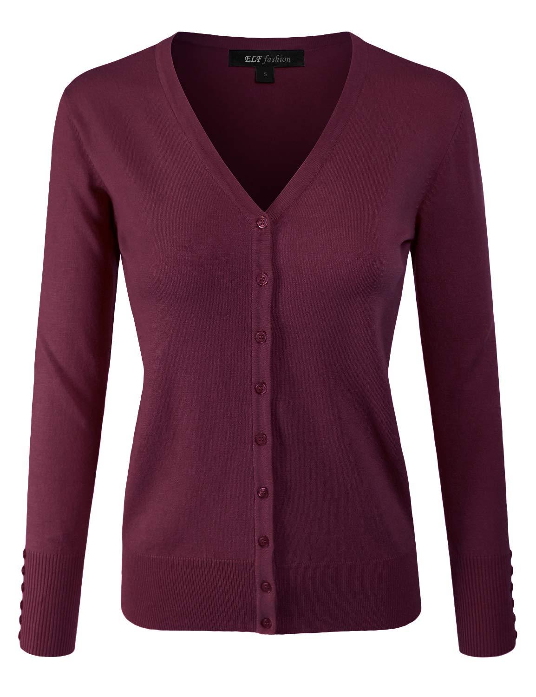 ELF FASHION Women Top Long Sleeve Button V-Neck Knit Sweater Cardigan (Size S~3XL) Burgundy M