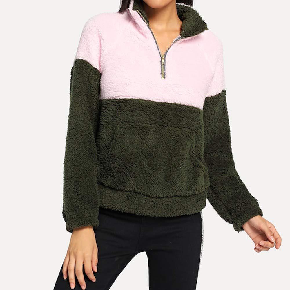 KYLEON Women Fashion Color-Block Print Warm Fleece Sweatshirt Coat Zipper Sherpa Pocket Pullover Jacket Tops Sweater Winter