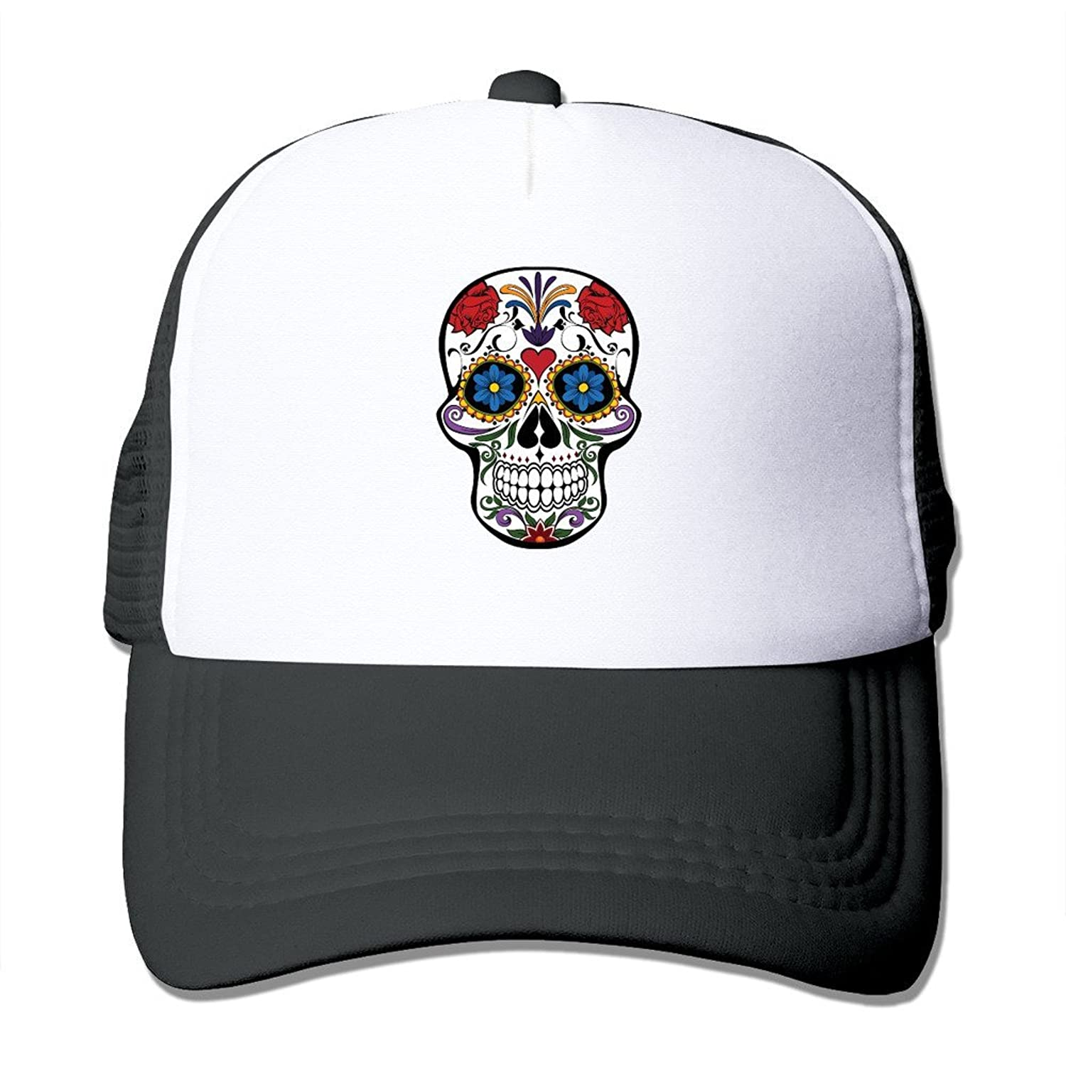 POPYol Unisex Floral Skull Adjustable Mesh Baseball Hats Caps