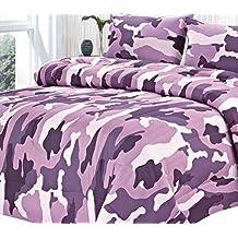 Clara Clark Colored Camouflage Goose Down Alternative Double Fill All Season Comforter, Full/Queen, Purple Lavender