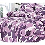 Clara Clark Colored Camouflage Goose Down Alternative Double Fill All Season Comforter, King, Purple Lavender