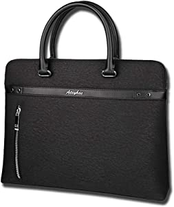 Formal Leather Laptop Bag 15 Inch, Business Briefcase for Men, Water Resistant & Durable Office Bag, Carry On Handle Case for Computer Notebook MacBook, Black