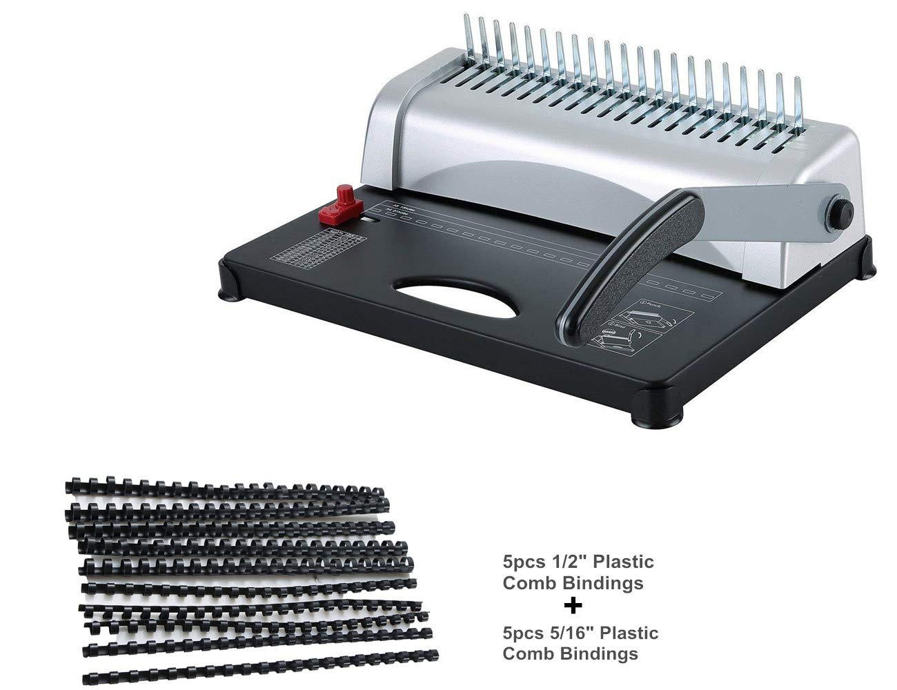 FLK Tech Binding Machine with Starter Combs Set - 21 Hole / 450 Sheets Paper Punch Binder
