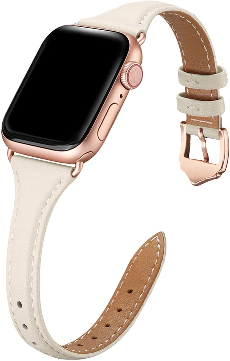 WFEAGL Leather Bands Compatible with Apple Watch 42mm 44mm,Top Grain Leather Band Slim & Thin Wristband for iWatch SE & Series 6/5/4/3/2/1(Ivory White Band+Rosegold Adapter,42mm Small & Middle Size)