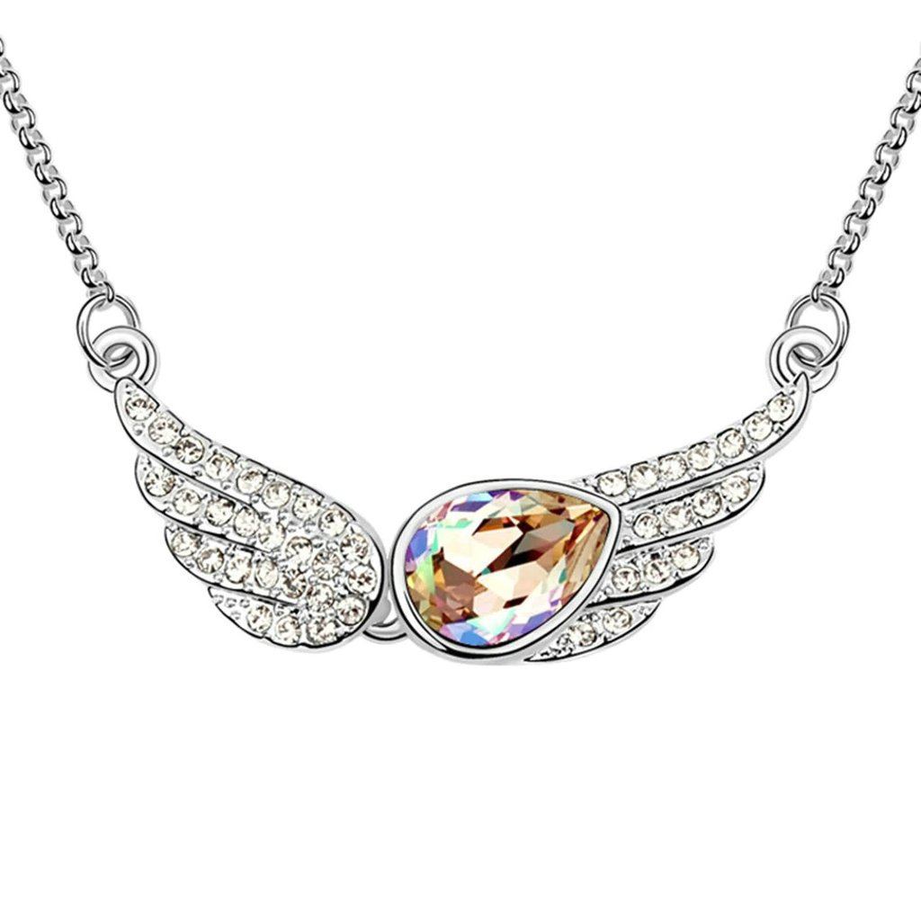 Daesar Gold Plated Womens Angel Wing Synthetic Crystal Necklace CZ Zirconia Necklace