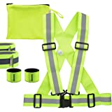 kwmobile safety set - safety vest, 2 reflector armbands, 2 snap reflector armbands in neon yellow - safety universal vest for riding, jogging, cycling