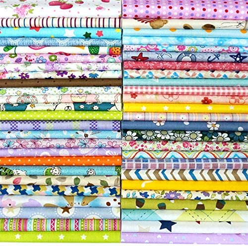 Mixed Squares Bundle Sewing Quilting Craft Konsait 50 Pieces 9.8 x 9.8 Inch Random Multi-Color Fabric Patchwork Cotton Sewing Square Fabric Scraps for DIY Sewing Quilting Dot Stripe