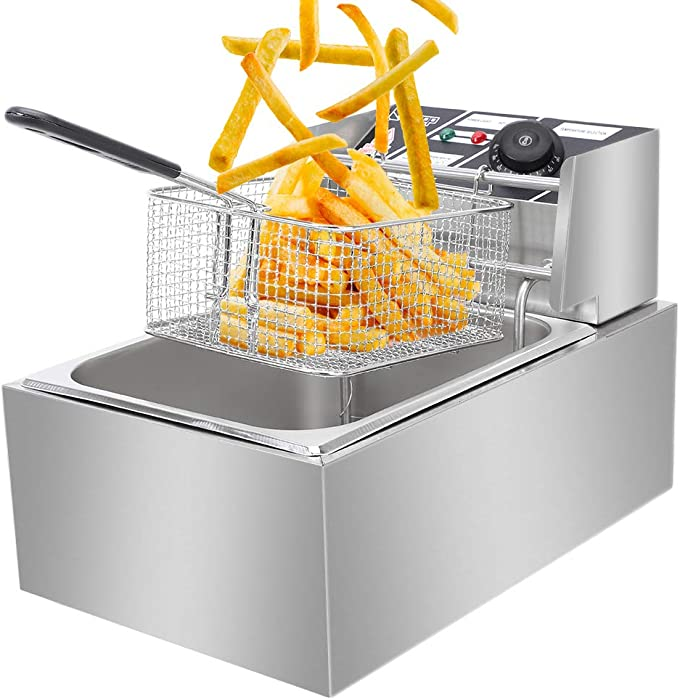 6.3 Qt Large Deep Fryer with Tank Basket, 2500W Electric Fryer with Thermostats and Filter Plate, Stainless Steel, for Home and Commercial (6L)