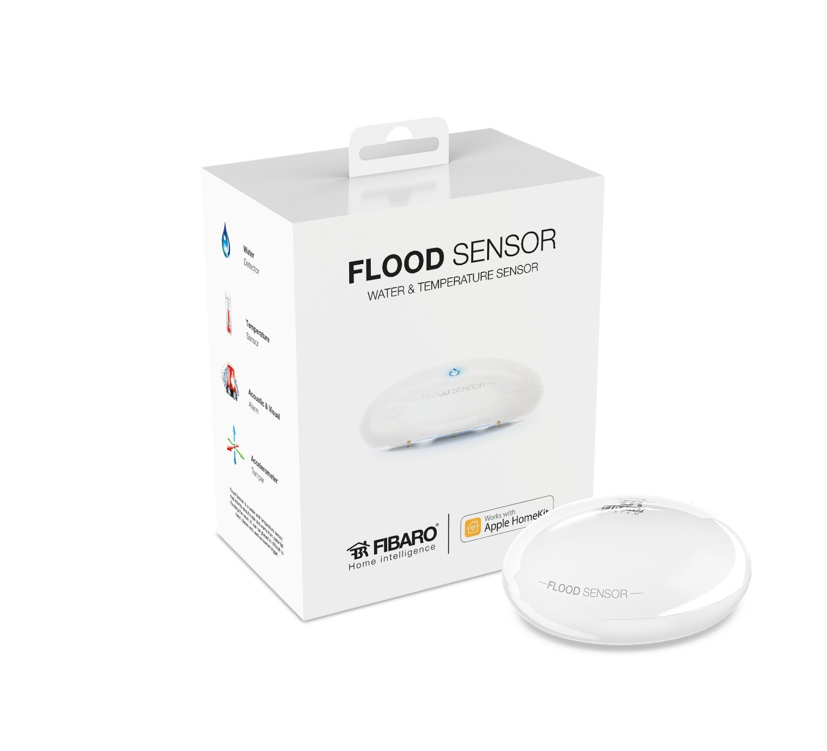 FIBARO HomeKit Flood Sensor, Water & Temperature Sensor for HomeKit only