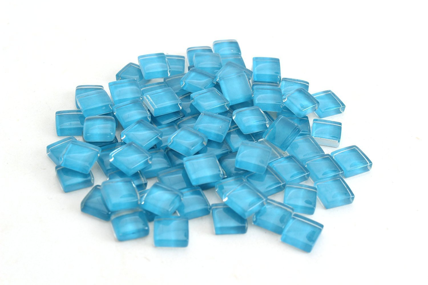 Milltown Merchants 4/10 Inch (10mm) Blue Crystal Glass Mosaic Tile, 3 Pound (48 oz) Bulk Assortment of Mosaic Tiles by Milltown Merchants