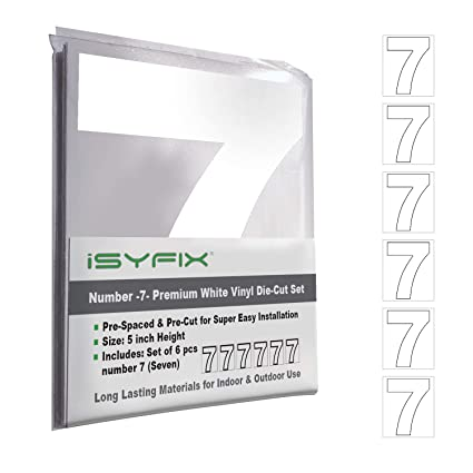 White Vinyl Number 7 (Seven) Stickers – 6 Pack 5-Inch Self Adhesive -  Premium Decal Die Cut & Pre-Spaced for Mailbox, Signs, Door, Cars, Trucks,  Home,