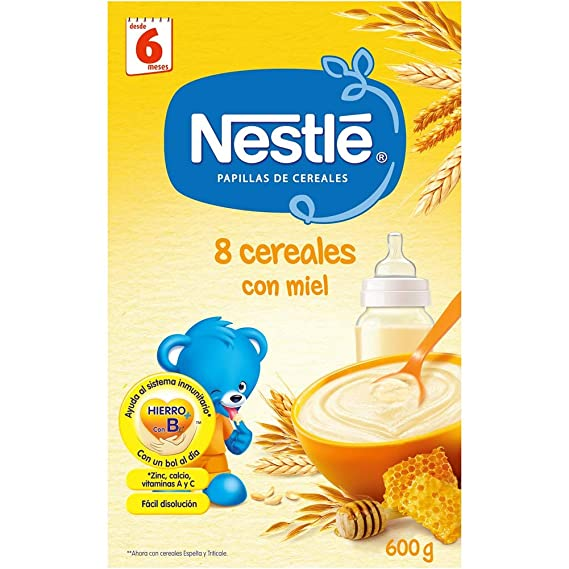 Nestlé Papillas NESTUM Cereales para bebé con miel - 3 papillas de 650g -Total 1950g