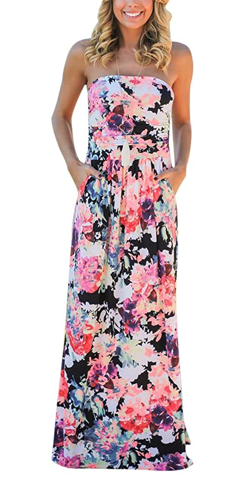 c0b7e4f5cf2 Strapless Vintage Floral Printed Summer Long Maxi Dress for Women. Design   Tube wrapped chest a line type long maxi summer dresses with side pockets.