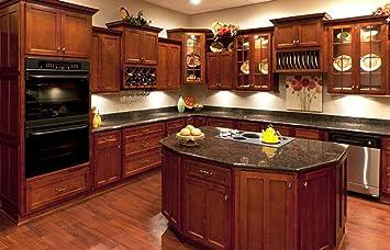 Amazon Com L D Renovations 10 X 10 Kitchen Cabinets Shaker Cognac Furniture Decor