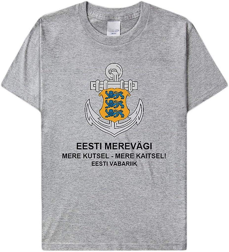 ACEGI Estonia Camiseta Azul Marino Manga Corta Hombres Fuerza Comando Ropa Uniforme Nacional 100% algodón Marea Camisa Media Manga: Amazon.es: Ropa y accesorios