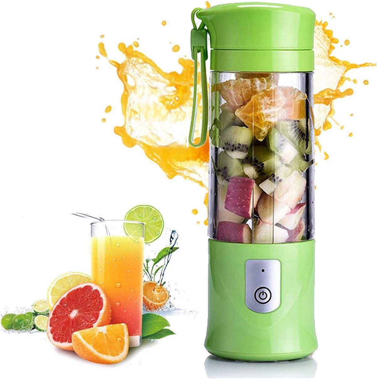 Portable Blender, Mini Travel Fruit USB Juicer Cup, Personal Small Electric Juice Mixer Blender Machine with 2x2000mAh Rechargeable Batteries (Green)