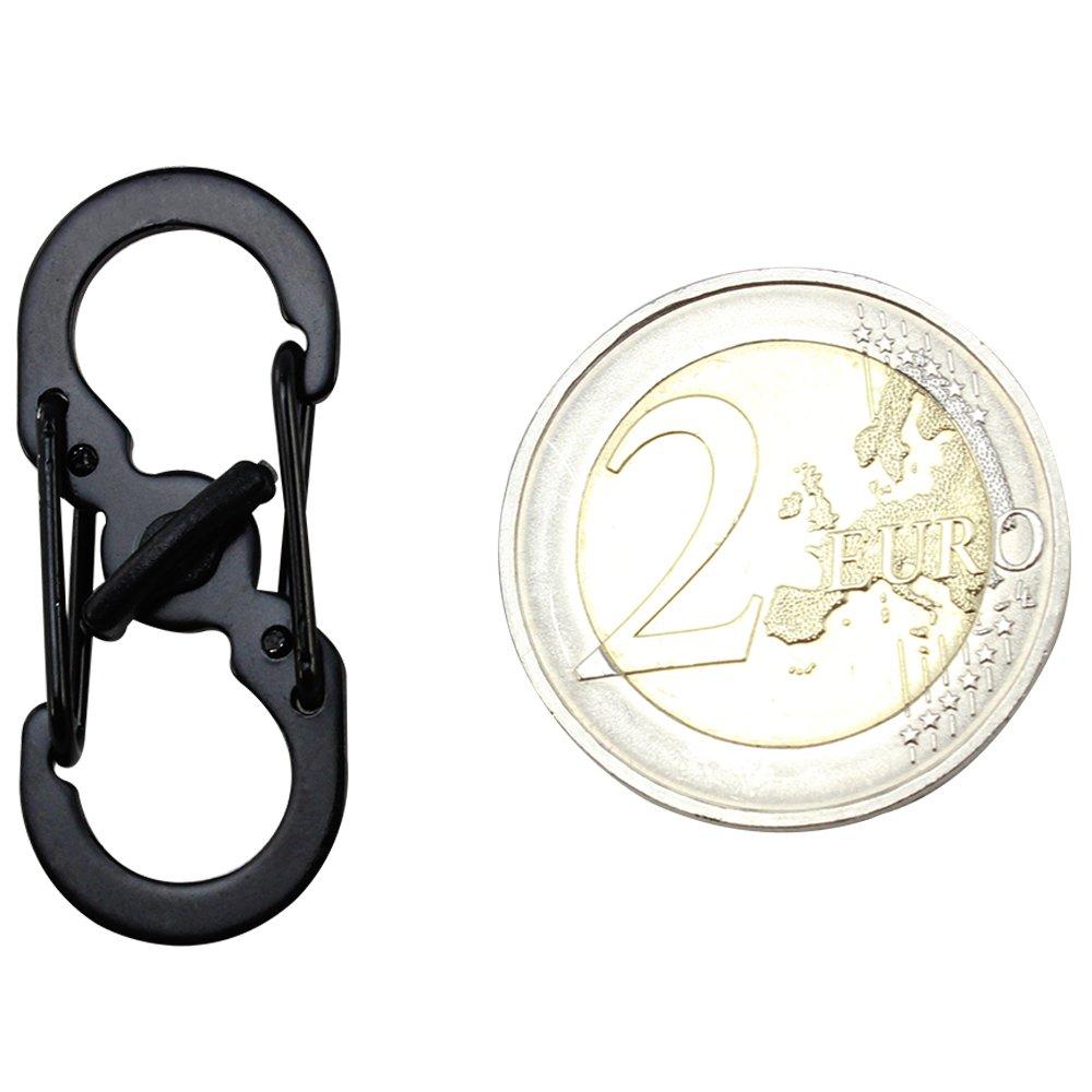 2X Noir et 2X Argent com-four/® Mini Mousqueton par 4 04 pi/èces