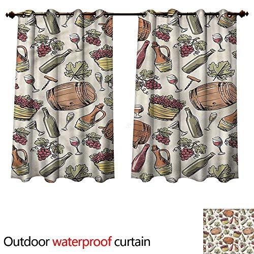 (cobeDecor Winery Outdoor Curtain for Patio Viticulture Grapevine Barrel W63 x L72(160cm x 183cm))