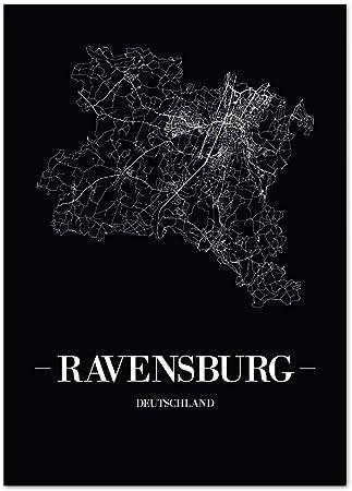 Waldkirch Kunstdruck Plan Map JUNIWORDS Stadtposter Schwarz
