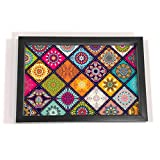 Multi Mandala Design Black Border 8x12 Tray - Kitchen, Dining, Serving & Desk Tray is made of Fibre frame with Acrylic insert in Rectangle Shape Size 8' x 12' by Brahma Design
