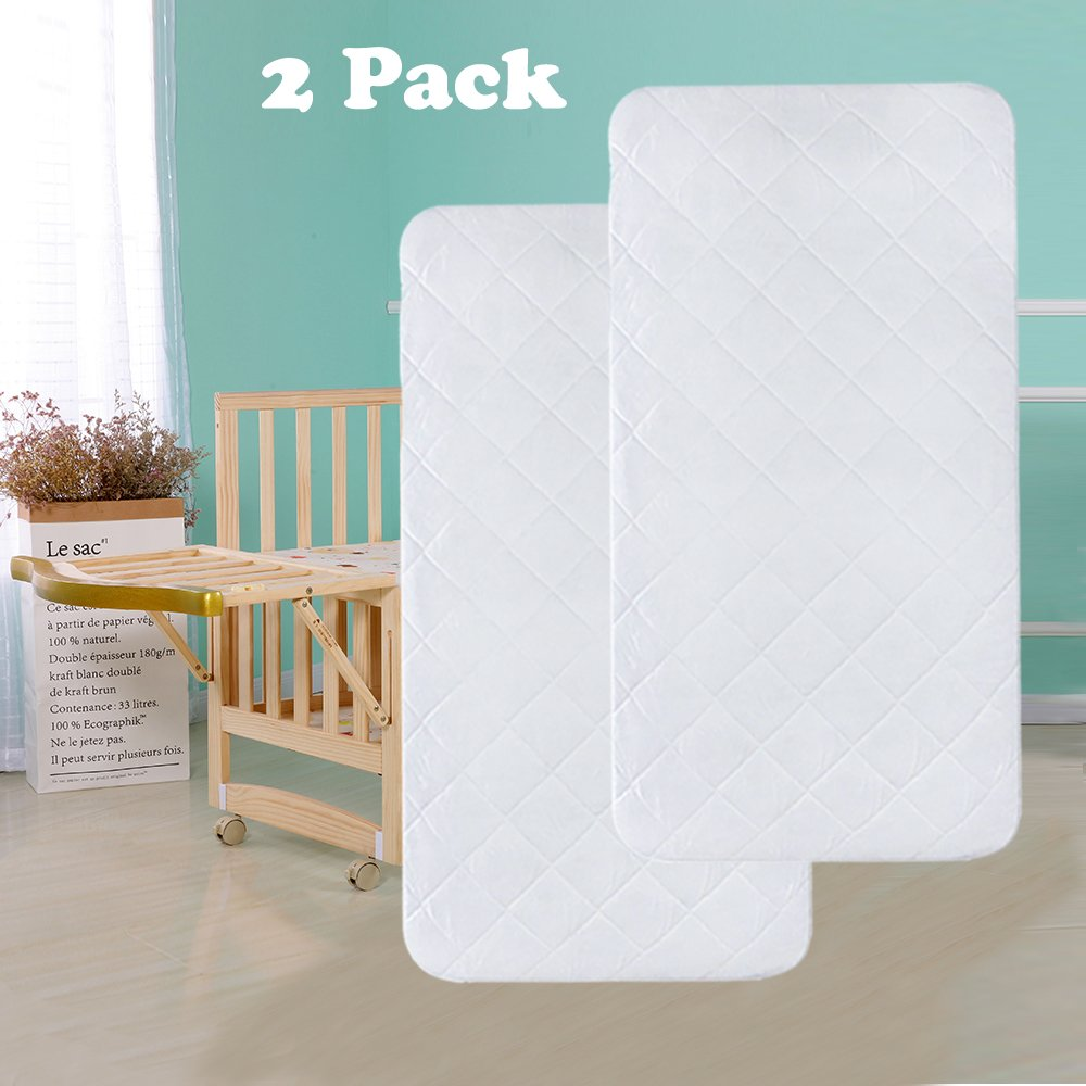 Crib Mattress Protector, 100% Waterproof, 2 Pack Hippih Quilted Hypoallergenic Mattress Pad Cover