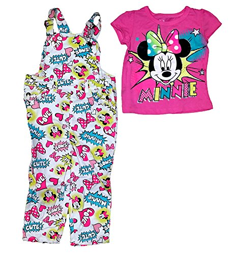[Disney Minnie Mouse Baby Girl T Shirt & Comic Print Overalls Outfit - Pink Blue] (Minnie Mouse Outfit For Babies)