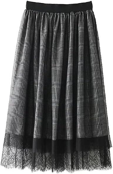 FuweiEncore Femme Jupe Longue Taille Haute Elastique Plissée