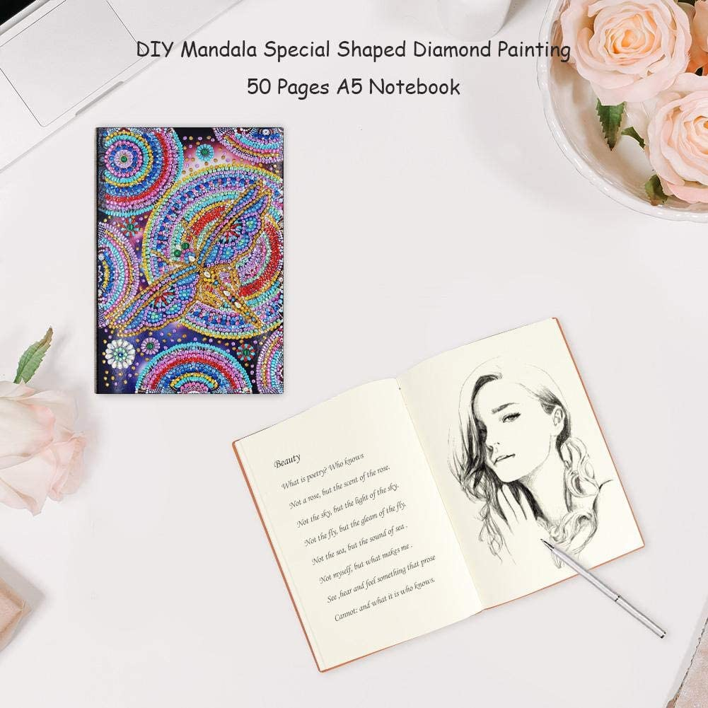 Tekijun Diamond Painting Kits DIY Dragonfly Special Shaped Diamond Painting 50 Pages A5 Notebook Notepad