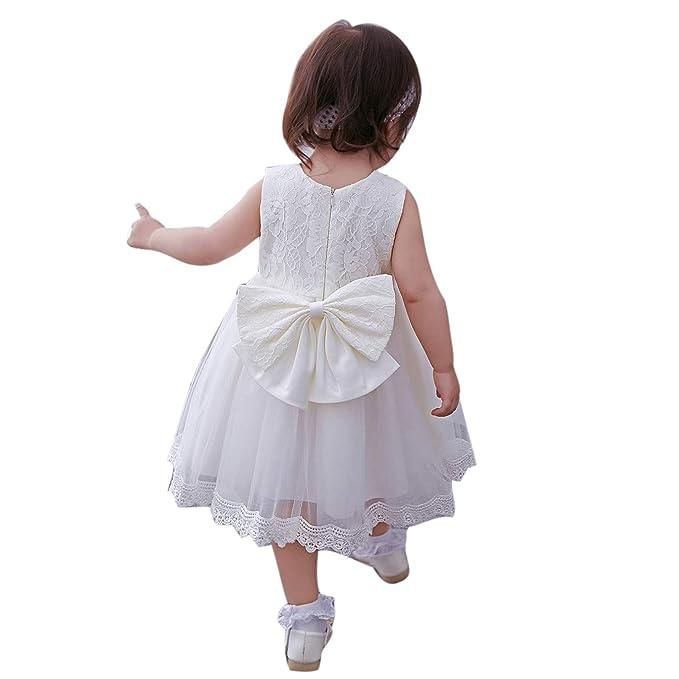 Amazon.com: domii bebé recién nacido chica vestido blanco ...