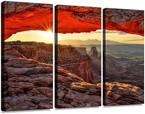 Mesa Arch At Sunrise Canyonlands National Park Utah Print On Canvas Wall Artwork Modern Photography Home Decor Unique Pattern Stretched And Framed 3 Piece Posters Prints