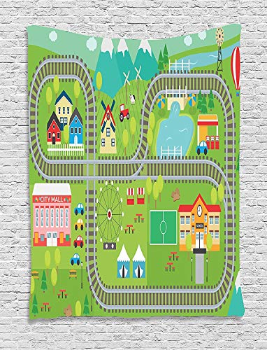 Wecottkerc Kid's Activity Tapestry Train Tracks with Colorful Town School City Mall and Amusement Park Fair 60 W X 80 L in Living Room Bedroom Dorm Wall Tapestry -