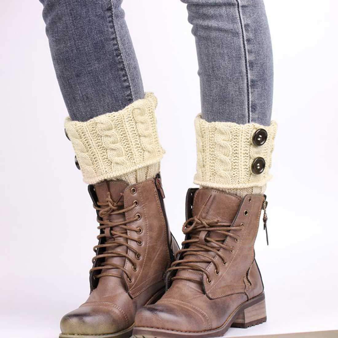 calze regalo di Natale per mamma e moglie lavorati alluncinetto elasticizzati scaldamuscoli invernali da donna caldi calzini per stivali Tuopuda