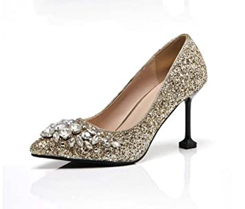 4fac5d8337c 8cm Pump Stiletto High-Heels Sequins Diamond Sandals Wedding Shoes Women  Fashion Pointed Toe Court Shoes Dress Shoes Wedding Shoes Party Shoes Eu  Size 35-40