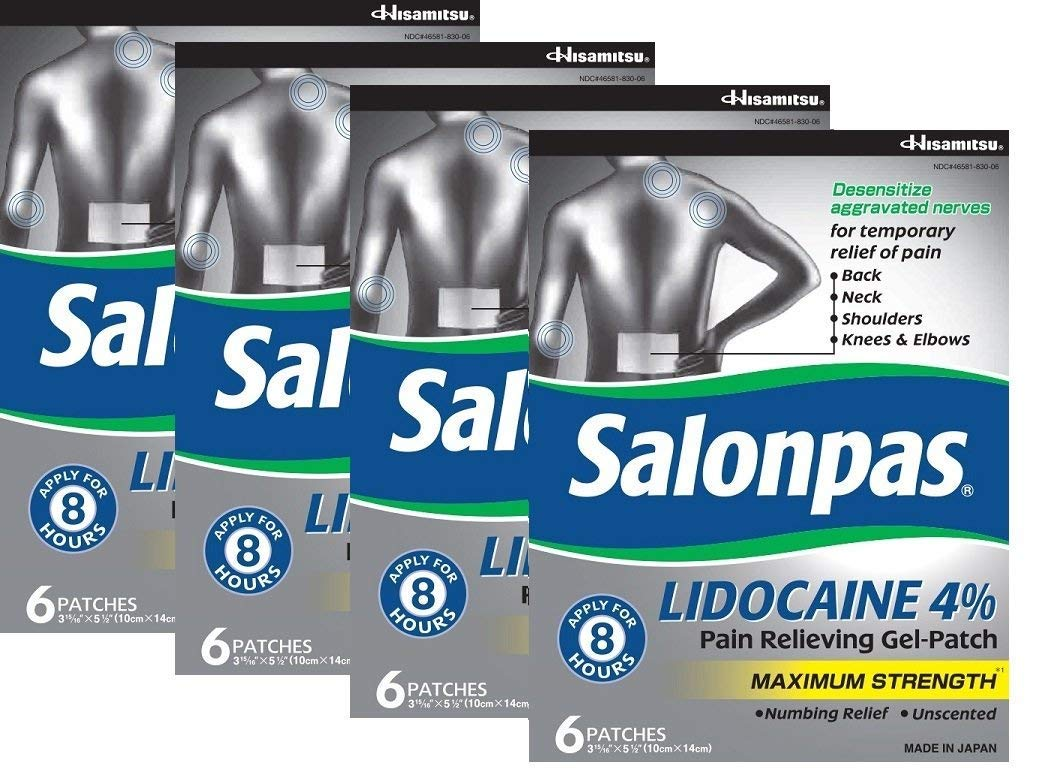 Salonpas LIDOCAINE (4 PACK Special) Pain Relieving Maximum Strength Gel Patch! by Salonpas