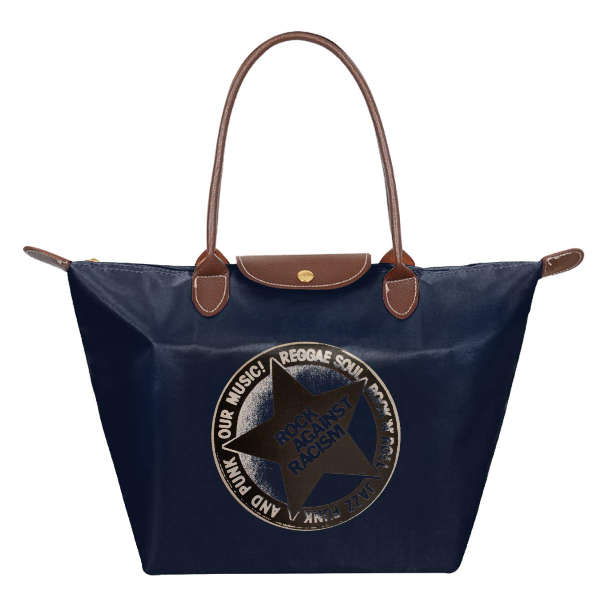 Rock Against Racism International Day For The Elimination Of Racial Discrimination Waterproof Leather Folded Messenger Nylon Bag Travel Tote Hopping Folding School Handbags