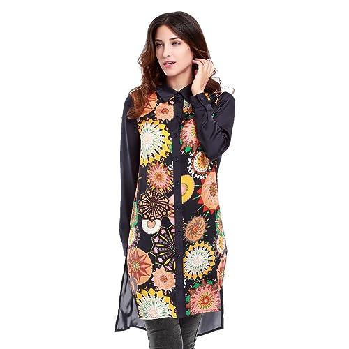 wlgreatsp Mujer Casual Abrigo de Chifón Floral Collar del Soporte Blusa de la Blusa
